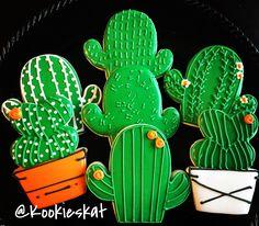 Cactus cookies  Cactus sugar cookies  Decorated cookies