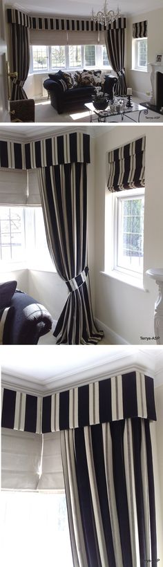Stunning, striped upholstered pelmet shaped into a bay window with long dress curtains and functional Roman blinds. The stripes are beautifully showcased on the neat pelmet and the matching side blinds. One of my favorite installations if I'm honest. Gorgeous! Adele