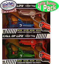 "Matty's Toy Stop ""Call of Life"" Laser Tag Blasters for Kids Red, Green, Blue & White Gift Set Battle Bundle – 4 Pack"