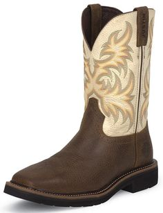 Justin Mens Stampede Square Toe Titanium White Work Boots Justin Stampede work boots are built for work and so much more. This stylish Stampede work boot features a premium brown leather foot under Steel Toe Work Shoes, Steel Toe Boots, Good Work Boots, Cool Boots, Orange Leather, White Leather, Titanium White, Justin Boots, Tall Guys