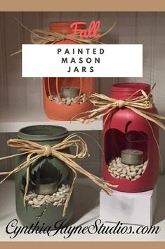 Crafting with Cute Mason Jars is such fun. These Painted Mason Jars are super simple to make and they are great for your Fall Mason Jar Crafts. We show you how with our simple step by step instructions. Crafting with Cute Mason Jars is such fun. Fall Mason Jars, Mason Jar Flowers, Mason Jar Diy, Diy Flowers, Halloween Mason Jars, Wedding Flowers, Mason Jar Projects, Mason Jar Crafts, Crafts With Mason Jars