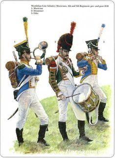 Napoleon German Allies. Westfalia and Kleve-Berg Musiciens du 4th et 5th Regiment 1810