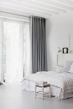 White bedroom with grey curtains Grey And White Curtains, Curtains For Grey Walls, White Walls, Bedroom Curtains, Sheer Curtains, White Linens, Lined Curtains, Window Curtains, Gray Bedroom
