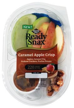 Apples, Caramel Dip, Graham Crackers, Praline Pecans 220 Calories Check out additional ReadyPac's fresh snacks.