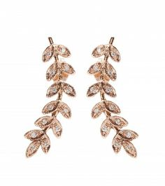 #jacquieaiche - 14KT gold large leaf earrings with white diamonds
