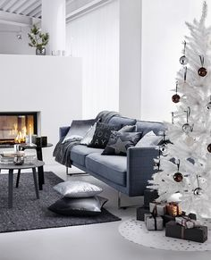 modern white christmas tree with coffee baubles H&M Home AW 2013