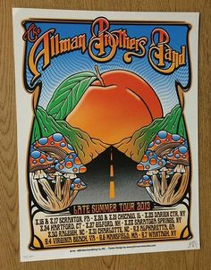 Original silkscreen concert poster for The Allman Brothers Band and their Late Summer Tour in 2013. 18 x 24 inches. Signed and numbered 400/1350 by the artist John Warner.