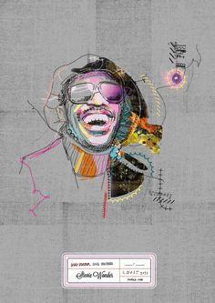 Stevie Wonder Soul Brother - Drawing, lines, collage Stevie Wonder, Creative Illustration, Illustration Art, Illustrations, Framed Art Prints, Poster Prints, Wonder Art, Collage Drawing, Book Design