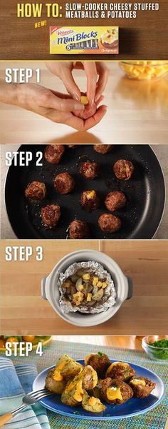 How to make Slow-Cooker Cheesy Stuffed Meatballs & Potatoes? With the cheesy goodness of 4oz. VELVEETA Mini Blocks and a slow-cooker, you're just a few hours away from a delicious meal. For more Mini Blocks recipes visit http://www.kraftrecipes.com/velveeta/main.aspx