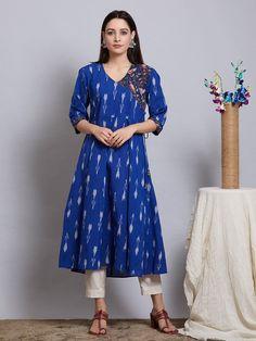 Ladies kurta : Buy Designer Womens kurtis Online - The Loom Dress Indian Style, Indian Outfits, Ikkat Dresses, Off White Pants, Kurti Sleeves Design, Kurta Style, Simple Kurti Designs, Neckline Designs, Saree Models