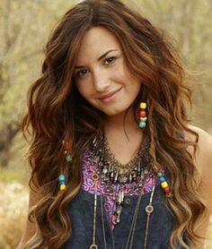 Demi Lovato Long Hairstyle With Beaded Braids