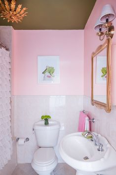 pink and green bathroom decor