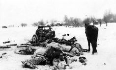 The unsung heroes of the front: A Red Army artillery element has been destroyed by a direct enemy hit. All team horses but one have perished along with the team driver sprawled on the ground on the left. The lone survivor horse simply pauses over the death scene. Poignant image of the viciousness and brutality of the Eastern Front.