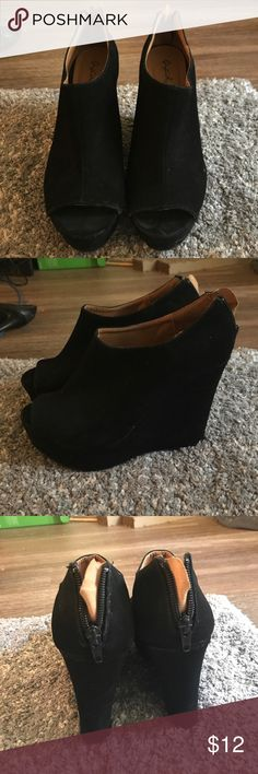 Black suede wedges Black suede wedges. Great condition! A couple wet spots Qupid Shoes Wedges
