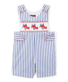 Take a look at this Blue & White Stripe Airplane Smocked Shortalls - Infant & Toddler today!