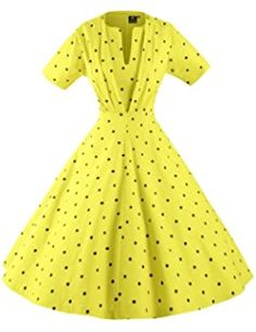 GownTown Women's 50s 60s Vintage Sexy V-neck Swing Dress