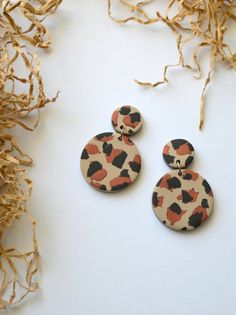 Leopard pattern earrings Round abstract statement earrings Handmade polymer clay jewelry Bold animal print earrings inspired by Fimo Clay, Polymer Clay Crafts, Handmade Polymer Clay, Polymer Clay Jewelry, Diy Clay Earrings, Earrings Handmade, Biscuit, Animal Print Earrings, Rustic Jewelry