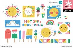 Sunshine Days: Clip Art (PNG) from DesignBundles.net
