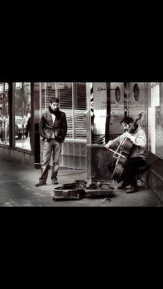Cellist playing in the street