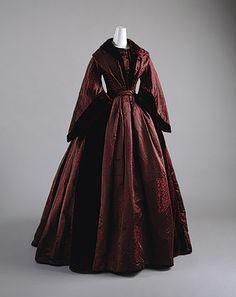 ~at-home dress: chinese aubergine silk damask and velvet, ca. 1850~