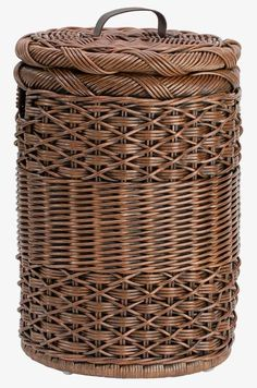 The Basket Lady Antique Walnut Brown Small Round Hamper Newspaper Basket, Newspaper Crafts, Wicker Laundry Hamper, Laundry Basket, Willow Weaving, Basket Weaving, Bamboo Basket, Wicker Baskets, Paper Weaving