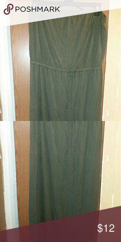 Strapless Maxi Dress Tie waist army green Old Navy Dresses Maxi