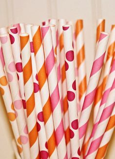 Delightfully bright orange and pink straws.