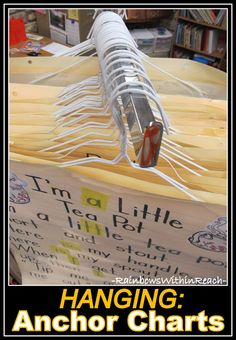 Storing and organizing anchor charts...plus tons of other organization tips for the classroom. Classroom Organisation, Teacher Organization, Classroom Setup, Teacher Tools, Music Classroom, Kindergarten Classroom, Future Classroom, School Classroom, Classroom Management