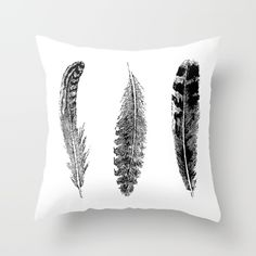 Feather+Trio+-+Black+&+White+Throw+Pillow+by+Eclectic+At+HeART+-+$20.00