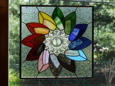 Colorful Stained Glass Plate Panel via Etsy