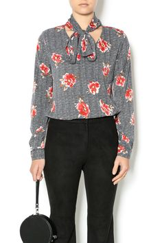 Flower pattern top with a tie neckline.    One size fits sizes x-small through small.   Flower Power Blouse by Pinkyotto. Clothing - Tops - Long Sleeve Clothing - Tops - Blouses & Shirts Nolita, Manhattan, New York City