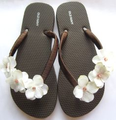 The Trista Brown Flip Flop Sandal with Ivory by LuxeSandalArt by poteidia