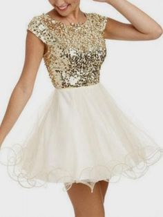 Golden Sequined Tulle Panel Cap Sleeve Homecoming Dress | Choies