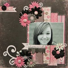 Melinda Garner scrapbook page layout....I like the pink and black color combo and the paper strips