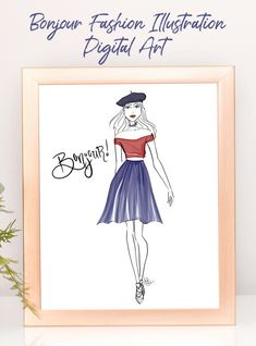 This Bonjour Fashion Illustration is a perfect way to decorate your space. This pretty digital download will enhance your style in any room. #digitaldownload #fashionillustration #fashionsketch #fashionprintable #printable #bonjour #paris #fashion #digitalart