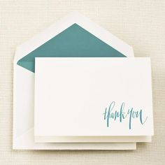 Hand Engraved Persian Blue Thank You Notes