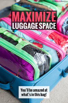to Travel With a Family and ONE Suitcase How to Maximize Space in Your Luggage: You'll be amazed at what's in this suitcase packing tips and hacks for your next family vacation Suitcase Packing Tips, Packing Tips For Vacation, One Suitcase, Packing Hacks, Vacation Ideas, Traveling Tips, Travel Checklist, Smash Book, Travel With Kids