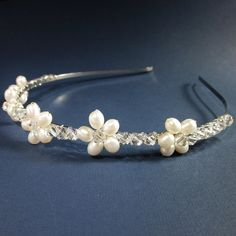 Swarovski Crystal and Freshwater Pearl Bridal Headband Head Piece  Handmade by Forever Cherish Design   #forevercherishdesign