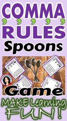 Comma Rules Spoons Game 3 Games Included-Comma Rules Spoons Game 3 Games Included Help your students understand the rules about adding… - Grammar Games, Grammar And Punctuation, Grammar Activities, Teaching Grammar, Grammar Lessons, Teaching Writing, Teaching English, Ela Games, Teaching Ideas