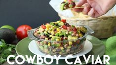 Cowboy Caviar is a chunky salsa-type dip with beans, avocado, tomatoes, corn and a zesty dressing. Healthy Picnic Foods, Healthy Dip Recipes, Caviar Recipes, Bean Salad Recipes, Healthy Dips, Healthy Appetizers, Appetizer Recipes, Vegetarian Recipes, Vegetarian Picnic