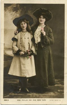 Antique Real Photo Postcard  Miss Phyllis and Miss Zena by acanthe, £3.00