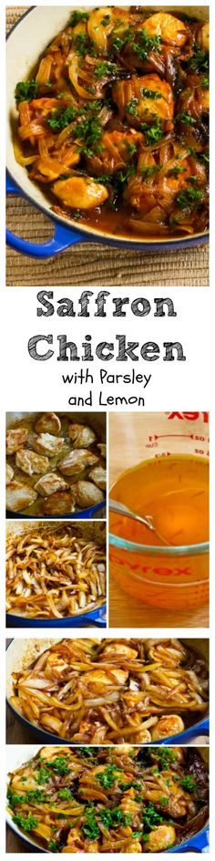 Saffron Chicken with Parsley and Lemon is a classic middle eastern dish, and my version is low-carb, gluten-free, and can be Paleo if you omit the tiny amount of butter.  [from KalynsKitchen.com]