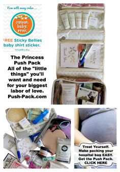 The Princess Push Pack #hospitalbag makes a great #babyshower gift.  Stress free a near complete #hospitalpackinglist for the mom to be.  Now with an exclusive sticker from #stickybellies. $68