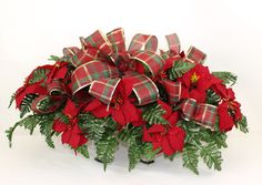 Holiday Christmas Red Poinsettia's w Plaid Ribbon Silk Flower Cemetery Tombstone Saddle by Crazyboutdeco on Etsy