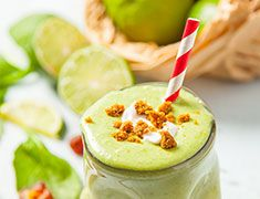 Key Lime Pie Smoothie with Coconut Whipped Cream Key Lime Pie Smoothie Ingredients 1 cup coconut milk 1 serving French Vanilla Vega One or Viva Vanilla Protein Smoothie 1 frozen banana 1/2 cup spinach 1 Tbsp key lime juice Zest of 1 key lime 1 Medjool date, pitted
