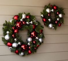 Outdoor Ornament Pine Wreath - Red/Silver Found at Pottery Barn, but this would be a great DIY! All Things Christmas, Christmas Home, Christmas Holidays, Christmas Crafts, Pottery Barn Outdoor, Outdoor Christmas Decorations, Outdoor Wreaths, Garden Decorations, Ornament Wreath