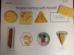 """'Have Your Shapes and Eat Them Too!""""  2D & 3D shape activity guaranteed to help your kids to remember the shapes.  By A&K Kindergarten :)"""