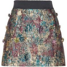 Dolce & Gabbana Embellished Metallic Mini Skirt (18,435 CNY) ❤ liked on Polyvore featuring skirts, mini skirts, multicoloured, short skirts, multi color skirt, mini skirt, short mini skirts and multi colored skirt