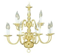 Livex Lighting 5012-02 Williamsburg 12 Light Two Tier (8+4) Polished Brass Chandelier