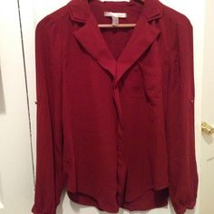Red Blouse Gorgeous Red Blouse rich in color. Perfect for work or going out. Very flattering and not sheer Forever 21 Tops Blouses
